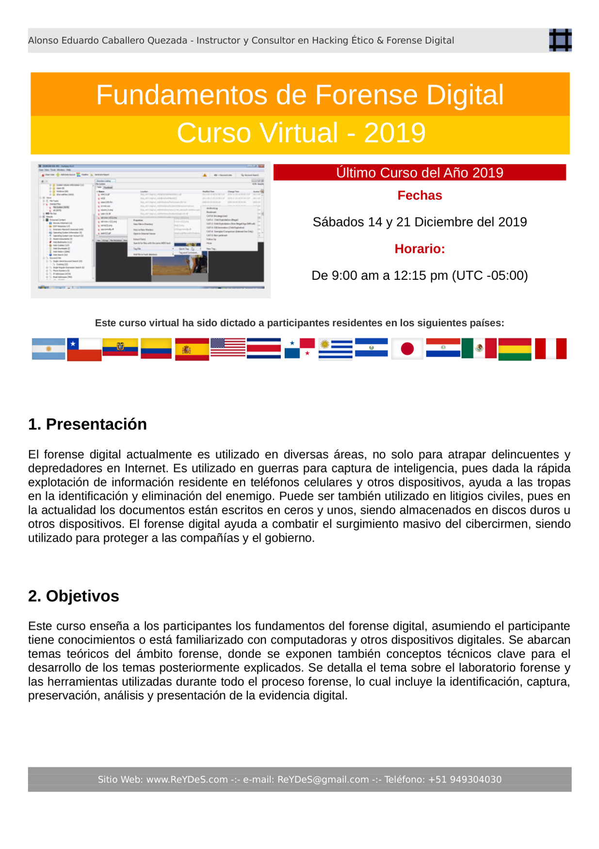 Único Curso Virtual Fundamentos de Forense Digital 2019