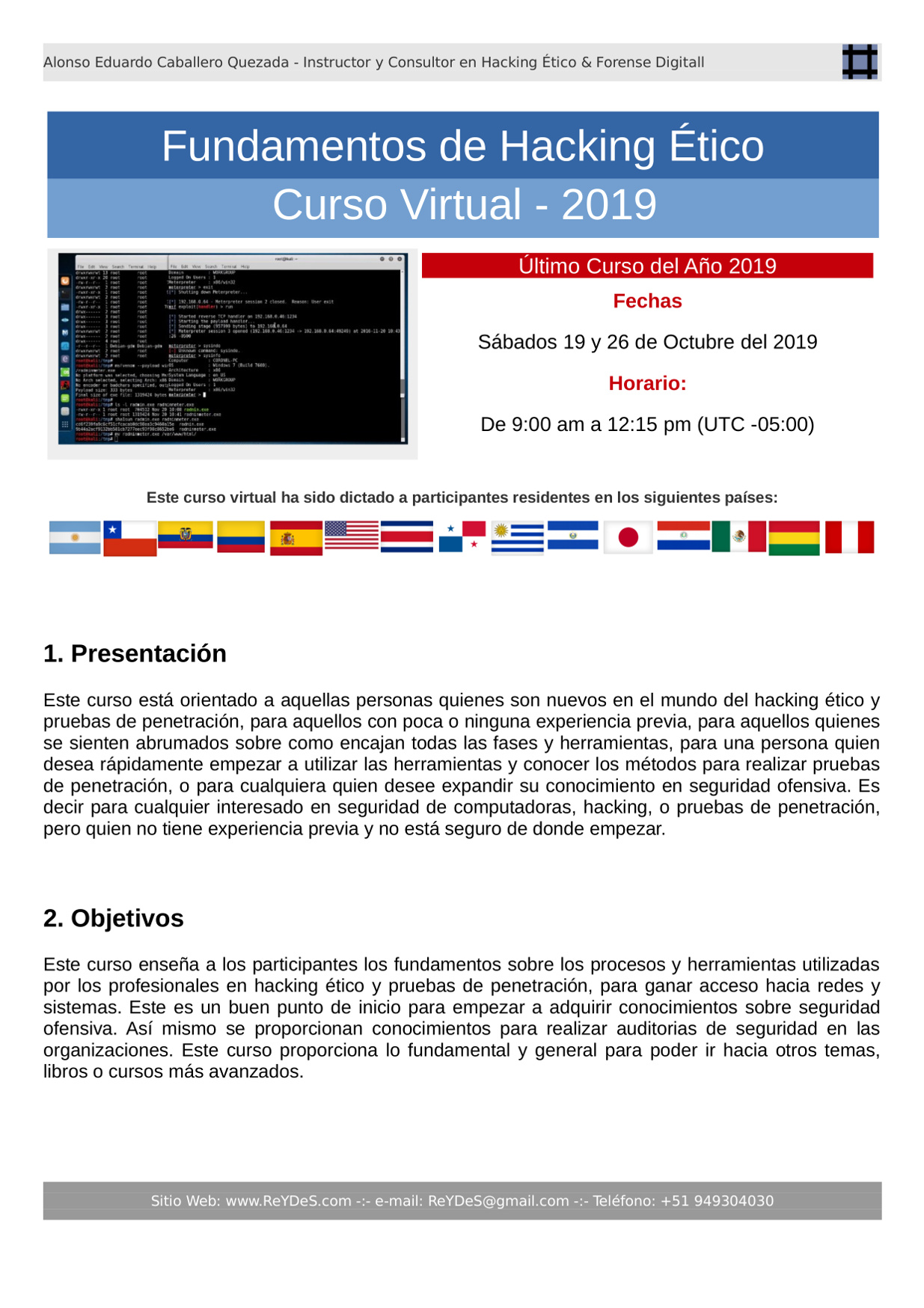 Único Curso Virtual Fundamentos de Hacking Ético 2019