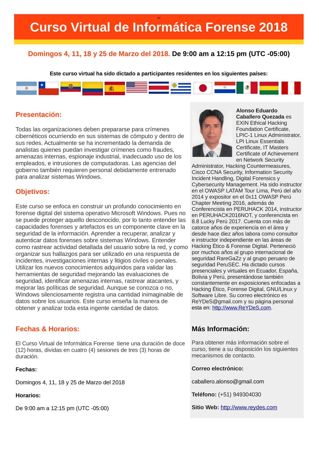 Único Curso Virtual de Informática Forense 2018