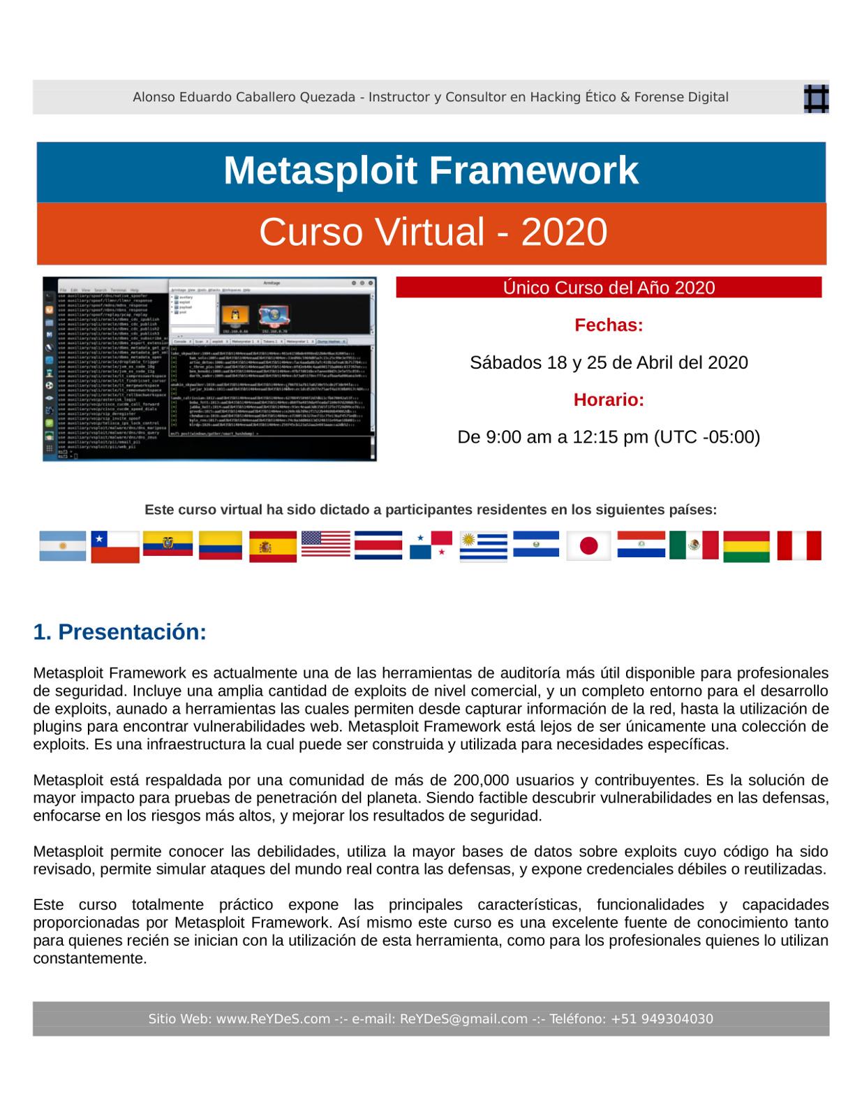 Único Curso Virtual de Metasploit Framework 2020