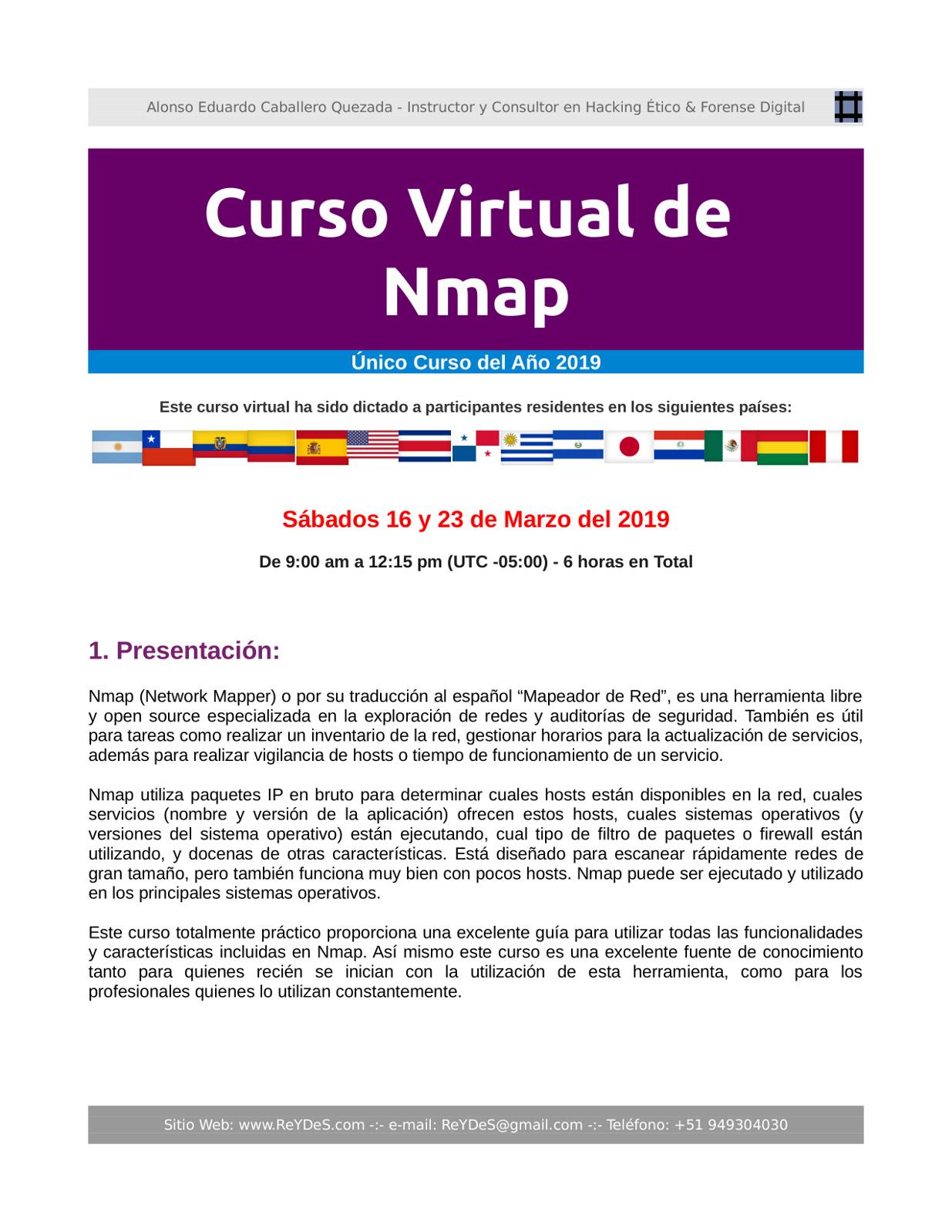 Único Curso Virtual de Nmap 2018