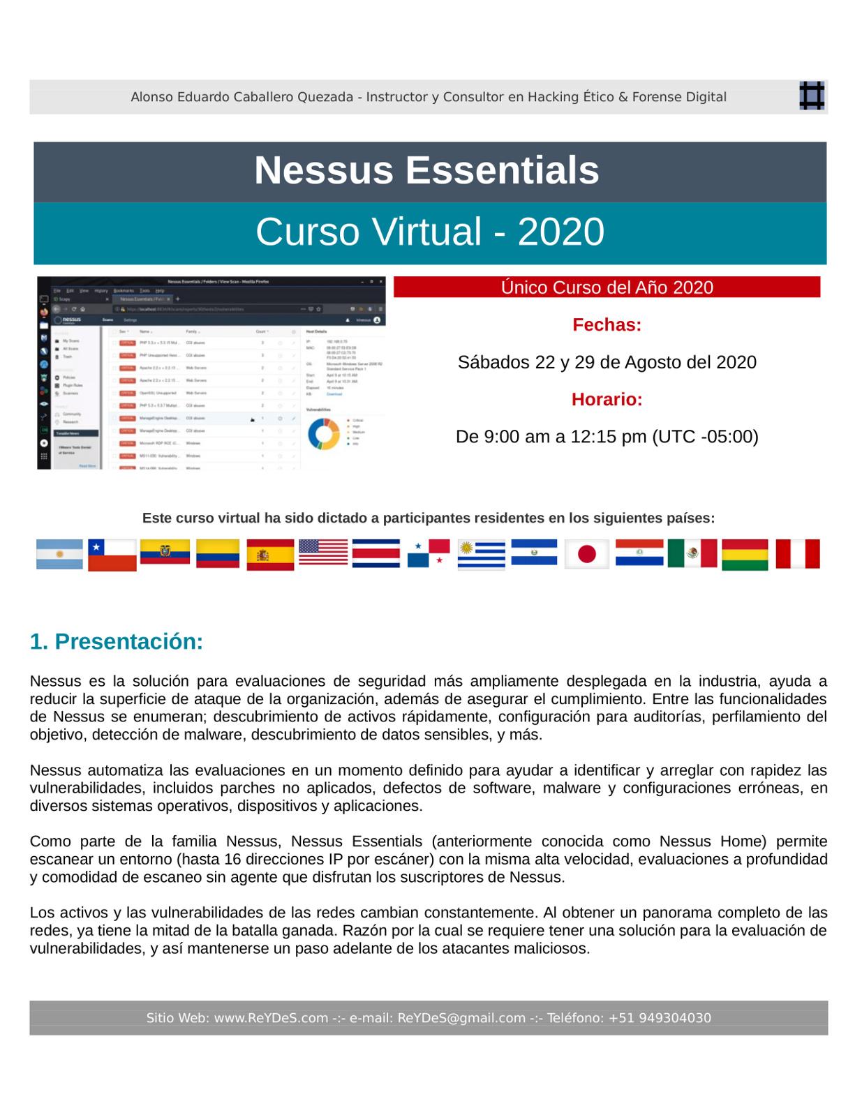 Único Curso Virtual de Nessus Essentials 2020