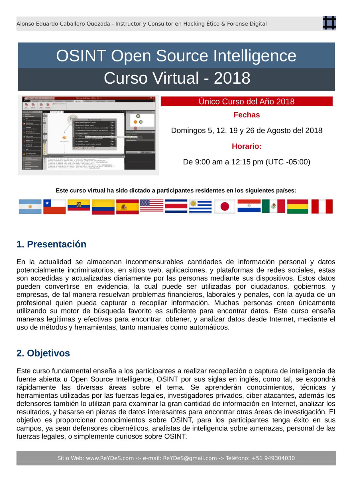 Único Curso de OSINT Open Source Intelligence 2018