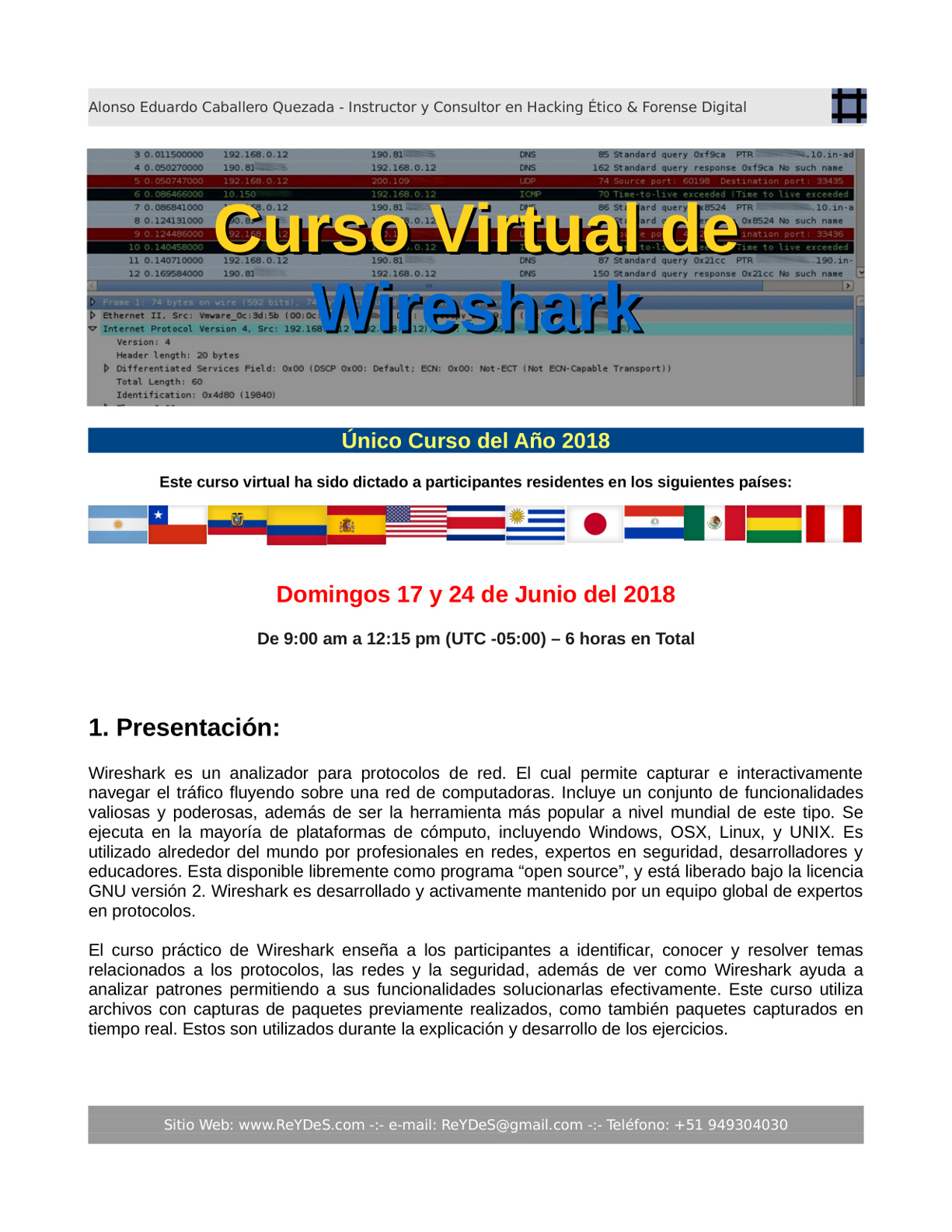 Único Curso Virtual Wireshark 2018