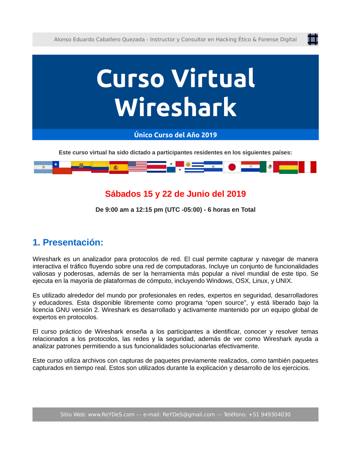 Único Curso Virtual Wireshark 2019
